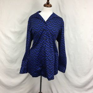 Chicos Geometric Statement Button Down Blouse Top